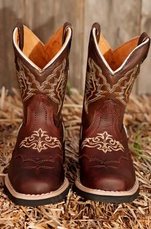 Kids Cowboy Boots- Square Toe Brown    finn!