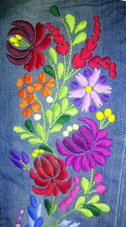 Beautiful embroidery on jeans