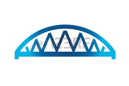 Blue Curved Bridge Icon Stock Vector