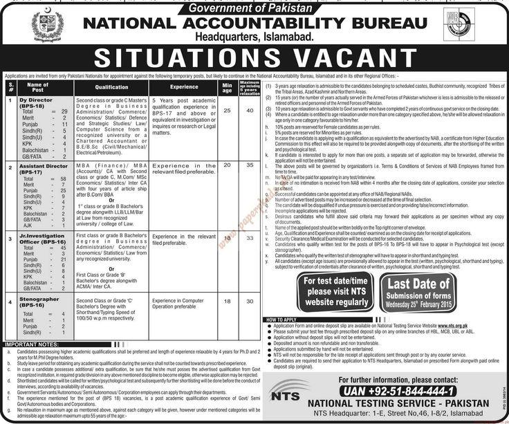 Government of Pakistan – National Accountability Bureau Jobs – Jang Jobs ads 10 February 2015