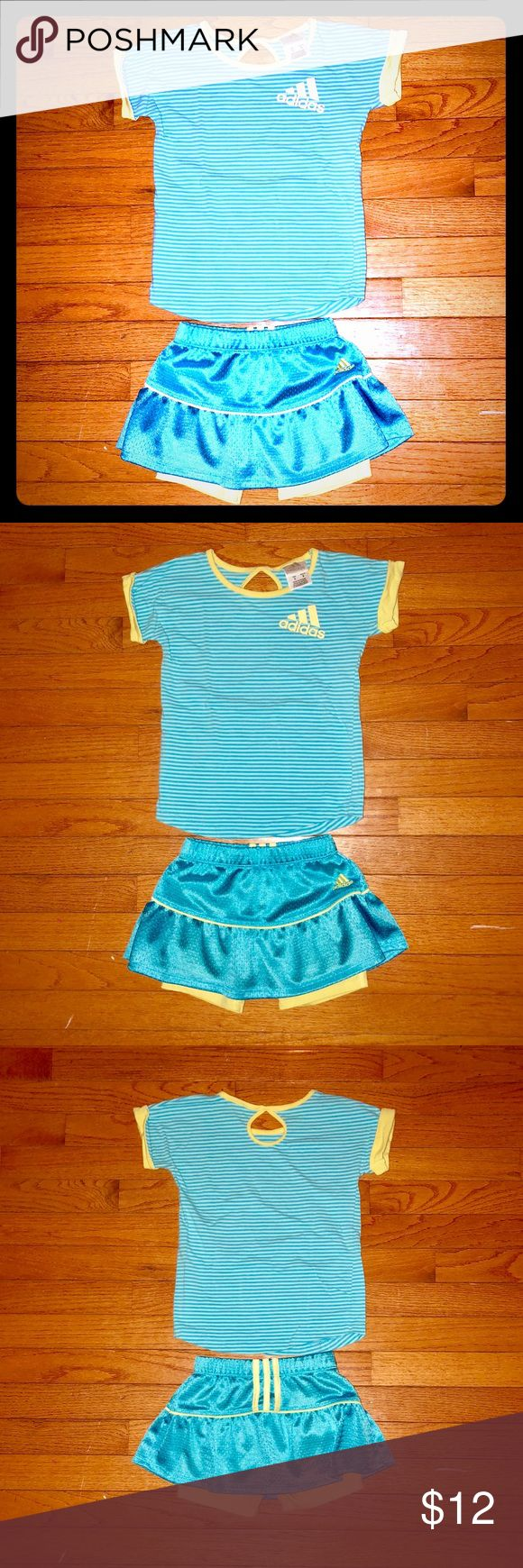 Little Girl's Adidas Two-Piece Skort Set - EUC Adorable little girl's t-shirt and skort set from Adidas. Size 5.  Bottoms have yellow shorts underneath blue Adidas skirt. Only worn a few times and in excellent used condition. Smoke-free home. adidas Matching Sets