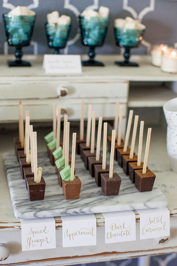 Hot chocolate bar for a party. i love this as part of a drink table for a…