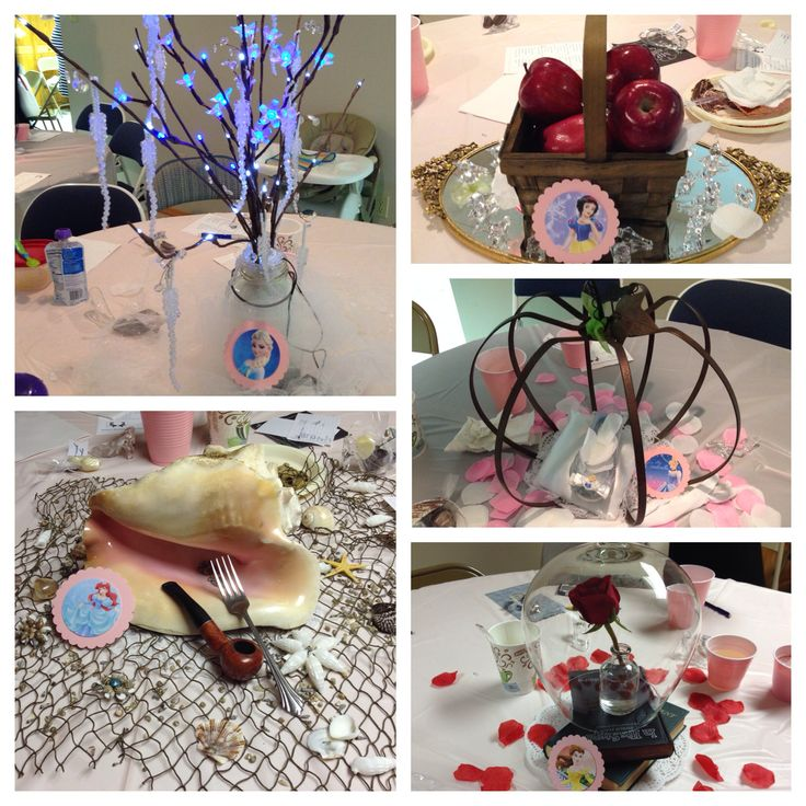 Disney Princess Bridal Shower | Each centerpiece represented a different princess | Frozen | The Little Mermaid | Snow White | Cinderella | Beauty and the Beast