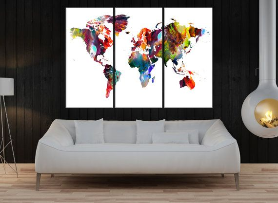 Watercolor print abstract world map canvas wall art, colorful world map canvas, Rustic world map, extra large map canvas wall art  No:7S48