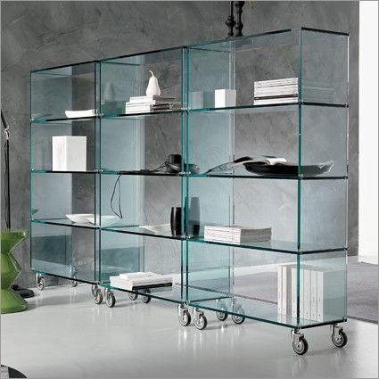 tonelli libreria glass bookcase on castors | 4 sizes