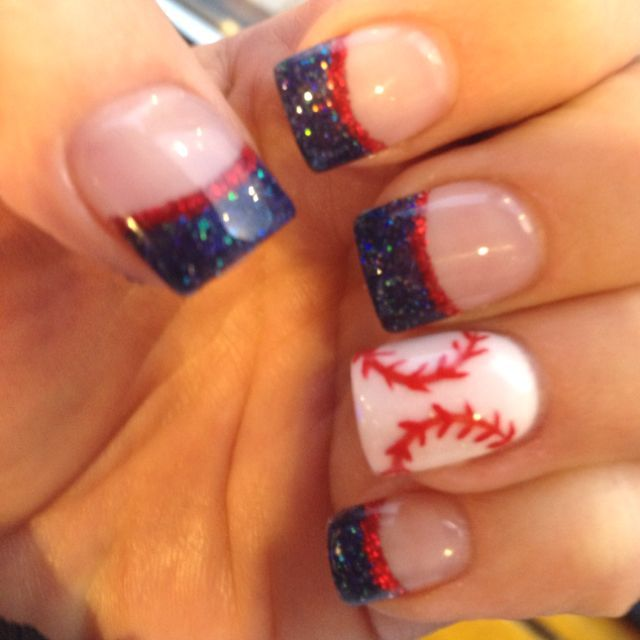 Instead of baseball have American flag for statement finger. This would be perfect for 4th of July Nail Design, Nail Art, Nail Salon, Irvine, Newport Beach