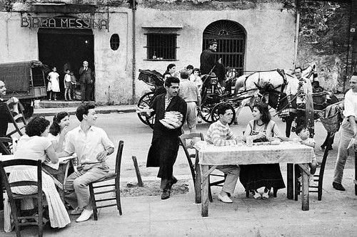 trattoria l'ingrasciata di palermo, italia - foto di enzo sellerio 1950-60