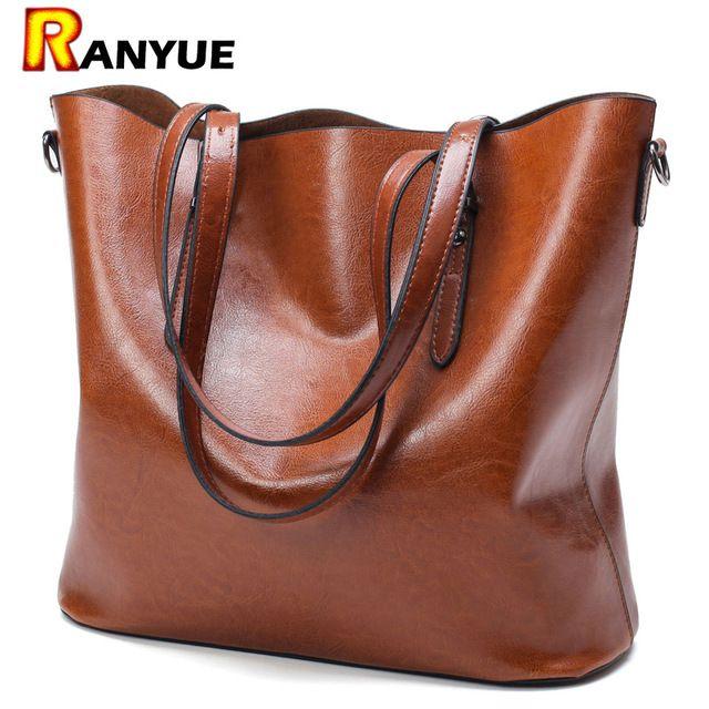 Super Deals $20.24, Buy Fashion Women Handbag PU Oil Wax Leather Women Bag Large Capacity Tote Bag Big Ladies Shoulder Bags Famous Brand Bolsas Feminina