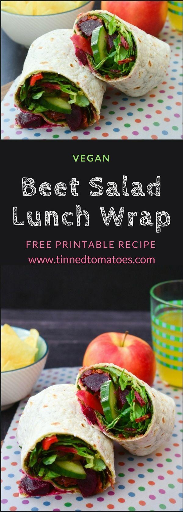 Beet salad lunch wrap