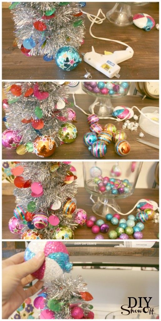 Tinsel Garland Christmas Tree-i know what to do with that extra tinsel.