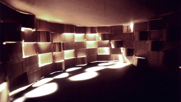 """The Sun Temple"" (paper model, Tinka Prekovic, 1997) The only photograph left of a paper model which I constructed to explore the movement of the Sun. Shadows, light, rain, snow and fog enter through the pleated wall and create a dramatic scene in the Sun Temple."