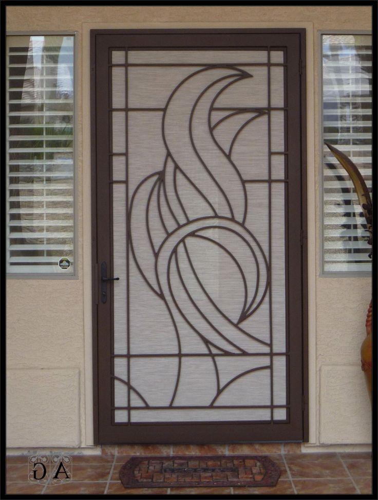 Simple contemporary metal security screen door with arch for Modern screen door