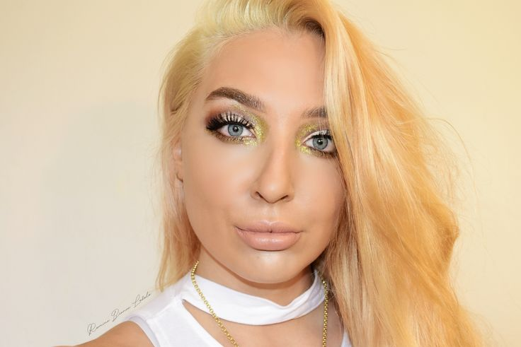 #gold #glitter #glam #makeup #youtube #blonde