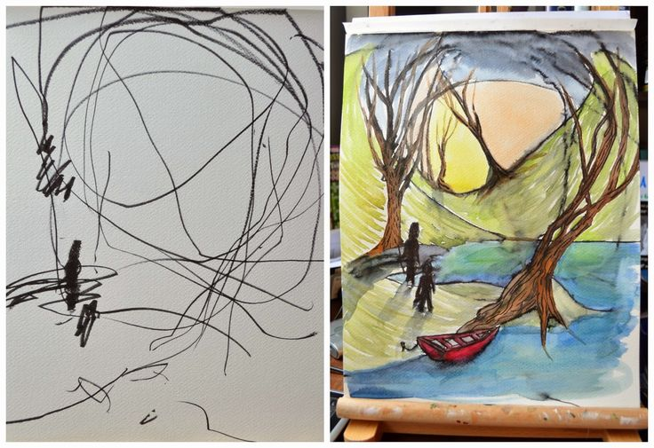 MOM AND TODDLER'S ART COLLABORATION TURNS INTO BEAUTIFUL PRINTS - good exercise for class