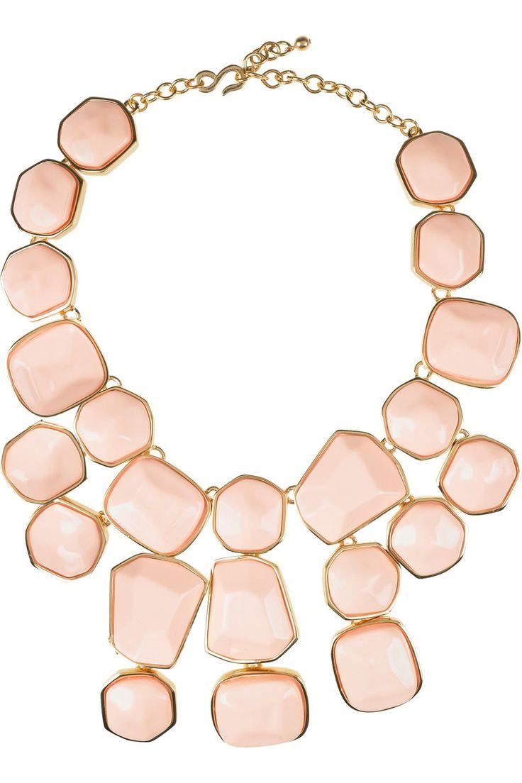 * kenneth jay lane 22-karat gold-plated bib necklace.