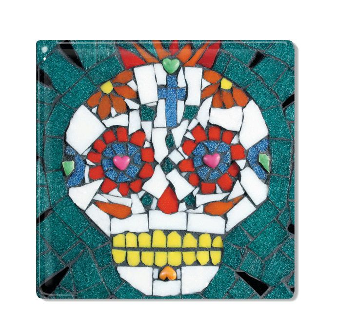 Ceramic Tile / Coaster - Candy Skull - Crazy Jeff
