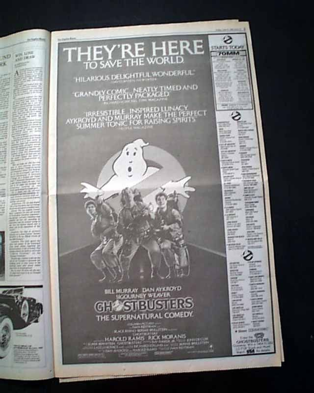 Review Premiere Of Ghostbusters In A Los Angeles Newspaper Ghostbusters Historical Newspaper Opening Weekend