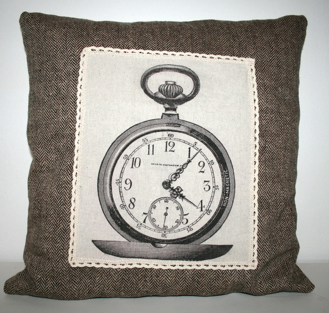 Quirky unique handmade vintage Stopwatch Clock cushion cover in tweed and calico