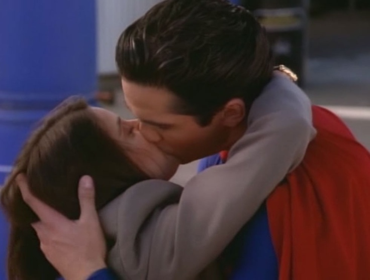 """By WB, Siegel & Shuster's Superman (Dean Cain) & Lois Lane (Teri Thatcher) kiss in """"Lois & Clark: The New Adventures of Superman"""" S1E11 (1993-1997) after a close-call for Lois."""