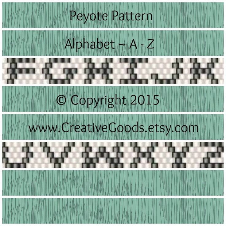 Alphabet Peyote Pattern  This peyote pattern includes all letters from A - Z in odd count peyote. The pattern is 7 beads wide. The letters are 5 beads wide. This pattern will include: *Bead Legend *Full Color Bead Chart *Word Chart  Pattern Details: Width: .37 (7 columns) Number of Colors: 2 Bead Type: Size 11 Miyuki Delicas Stitch Used: Peyote (odd count)  Arrange the letters in this pattern to create the word or phrase of your choice.  This listing is for the pattern portion of this…