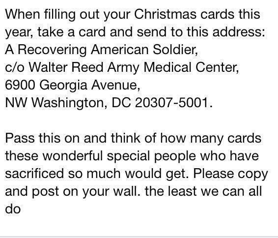 Where To Send Christmas Cards For Recovering Soldiers