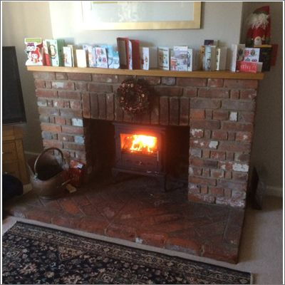 brick fireplace with a firefox 8 stove
