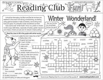 WINTER WONDERLAND - Learn about penguins, winter-related words, and winter festivals with this winter-themed activity page!