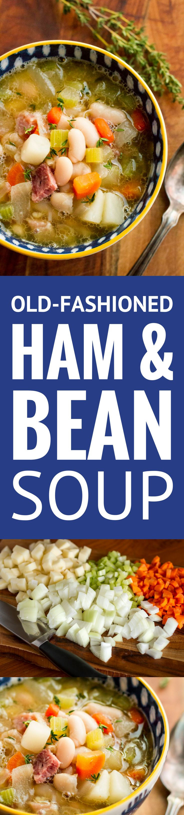 Ham and Bean Soup Recipe -- this hearty ham and bean soup, filled with diced carrots, celery, and potatoes, is the perfect way to use up leftover ham… SO delicious on a cold day! | easy ham and bean soup | old fashioned ham and bean soup | stovetop ham and bean soup | best ham and bean soup | find the recipe on unsophisticook.com