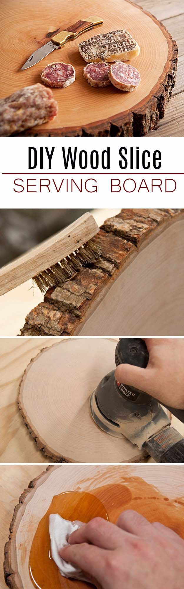 DIY Gifts For Men | Awesome Ideas for Your Boyfriend, Husband, Dad - Father , Brother and all the other important guys in your life. Cool Homemade DIY Crafts Men Will Truly Love to Receive for  Christmas, Birthdays, Anniversaries and Valentine's Day | Wood Slice Serving Board for Him |  http://diyjoy.com/diy-gifts-for-men-pinterest