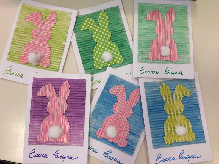 Biglietto x Pasqua. Tecnica acquerello, riciclo carta biscotti, collage. Scuola infanzia.