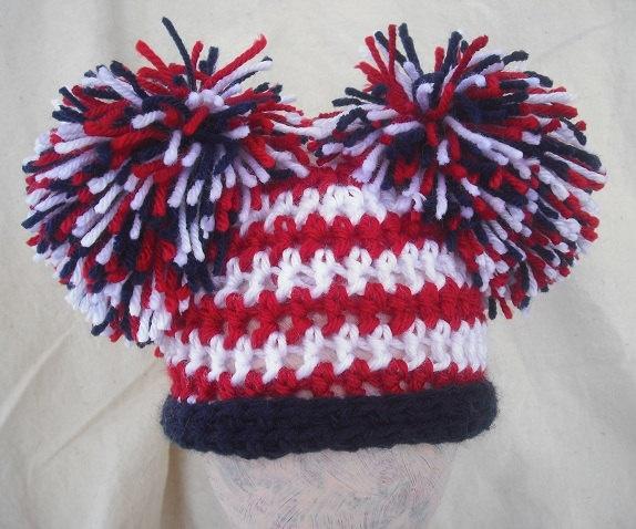 Girls Newborn Patriotic pom pom hat, American flag hat, Patriotic photography prop.