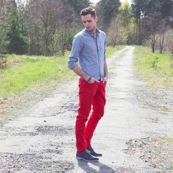 red, men's trousers czerwone męskie dżinsy :)