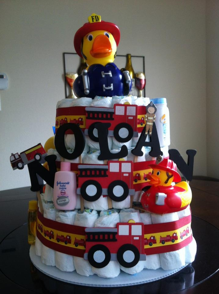 Firetruck Diaper cake I want to make for my baby girl Joanna