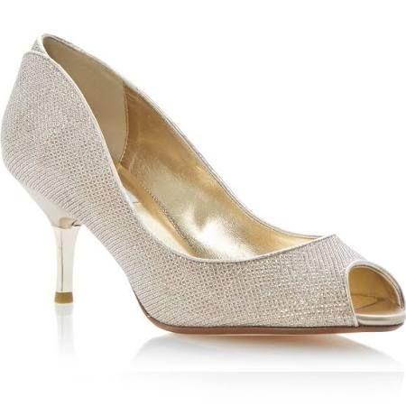 Gold Peep Toe Kitten Heels
