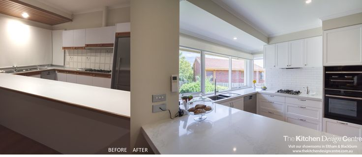 Before & After! A modern take on a traditionally inspired kitchen. Large, open bay or corner  windows to let in lots of light and an open servery to practical service into the dining room. An elegant white kitchen and laundry. www.thekitchendesigncentre.com.au @thekitchen_designcentre