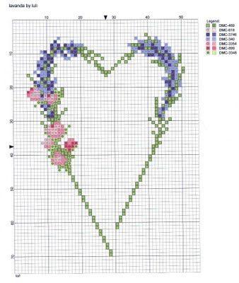 fleur- flower - plant - broderie - embroidery - lavande rose - Point de croix - Blog : http://broderiemimie44.canalblog.com/