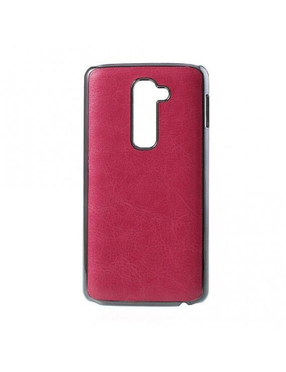 Σκληρή Θήκη με Επένδυση Δέρματος για LG Optimus G2 D801 D802 - Φούξια