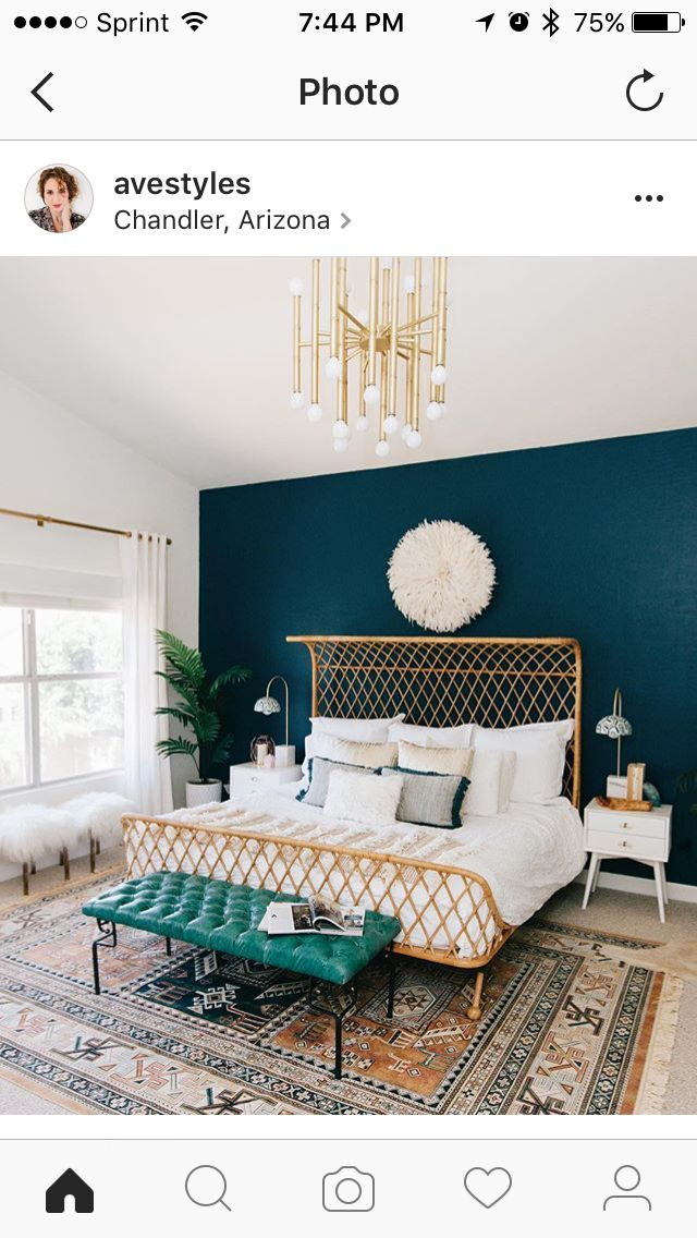 A Modern Boho Master Bedroom With Dark Teal, Copper And White Colors. That  Dark Teal Wall Is Amazing.