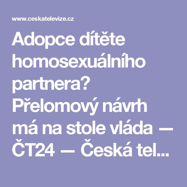 Adopce dítěte homosexuálního partnera? Přelomový návrh má na stole vláda — ČT24 — Česká televize