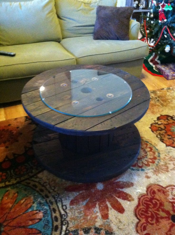My cable drum table finally completed. Will be making another one to sell. Love how it turned out.