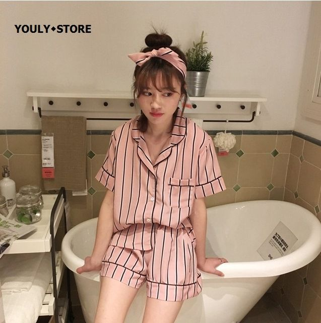 Plus Size 2017 Summer women Striped Short sleeve Pajamas Female 3 pieces sets hot Shorts Tracksuit Sleepwear Loose shirts tops