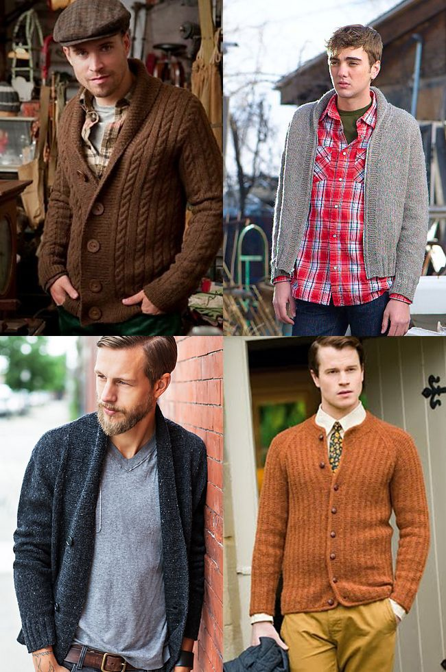 lovely cardigan patterns, for men's sweaters. though i kinda want to make them for me. . .