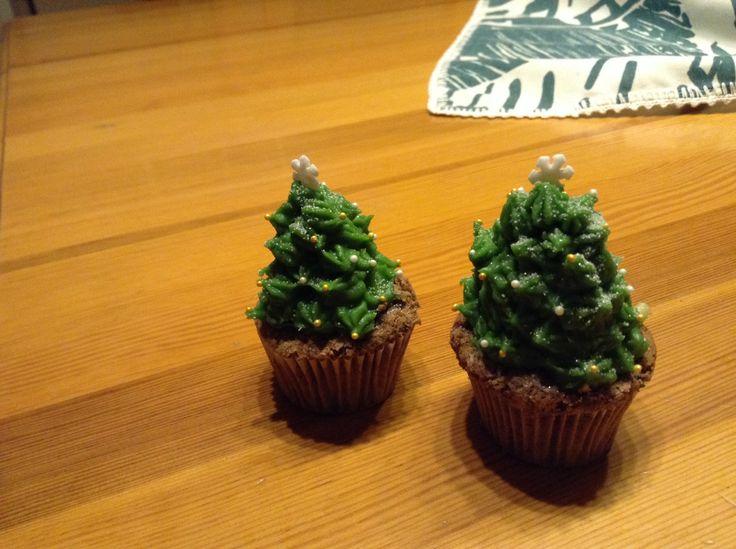 Karácsonyfa cupcake