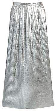 Maison Margiela Women's Plissé Pleated Metallic Nylon Midi Skirt