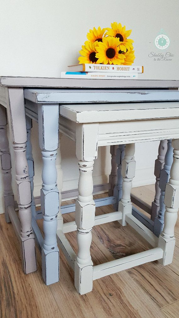 Vintage upcycled nested tables painted nest of by CaramelCoats