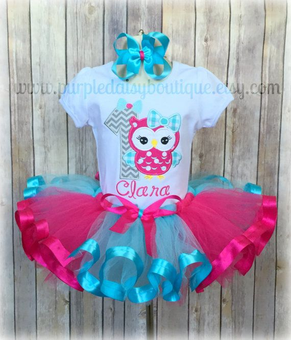 Hot Pink and Turquoise Owl with Bow First Birthday Ribbon Trim