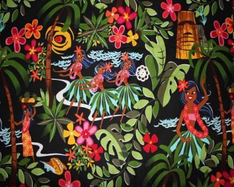 hawaii hula girl cotton fabric black by yellowmango on Etsy, $9.50