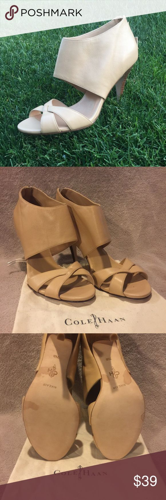 Cole Haan Tan Leather Zip Back Heels Authentic Cole Haan Tan leather heels with zip back heel. Never worn. Spots on soles are from Cole Haan leather treatment spray. Comes with original dust cover bags. Cole Haan Shoes Heels