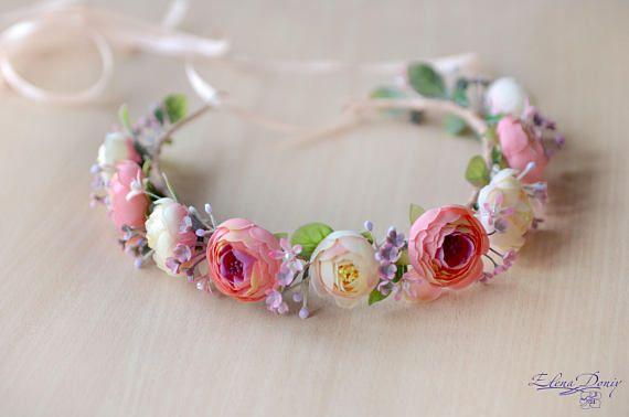 Coral peach flower crown Bridal set Wedding flowers wrist #flowercrown #bohocrown #hairwreasth #floralheadband #weddinghalo #bridalcrown #flowers #bridalshower #promnight #prom