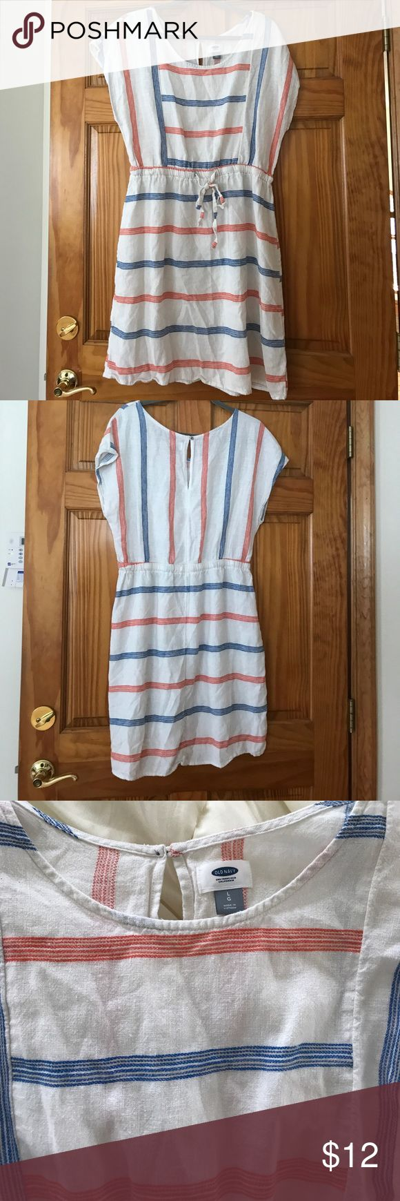 Old Navy striped dress Old Navy blue, orange/red, and white striped dress. Size L, in excellent condition! Old Navy Dresses